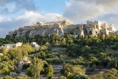 Acropolis of athens. Acropolis view from ancient agora Royalty Free Stock Photo