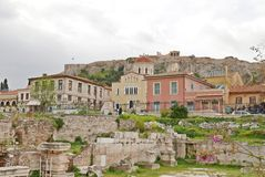 Acropolis. View from Hadrians Library Stock Image
