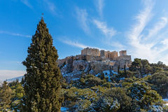 Acropolis in the winter Royalty Free Stock Photo