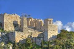 acropolisaeropagus som sedda athens Arkivbild