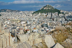 acropolisathens sikt Fotografering för Bildbyråer
