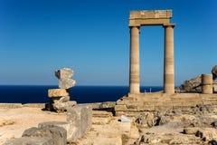 acropolisgreece lindos rhodes Arkivfoton