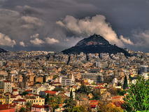 acropolisn雅典市视图 免版税图库摄影