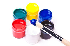 acros丙烯酸酯的蓝色油漆刷油漆 免版税库存图片