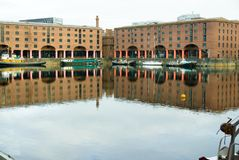 Albert dock Liverpool waterfront. stock photo