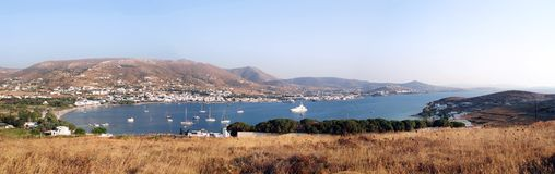 Across the Bay, Antiparos. A panorama of the bay at Antiparos, Greek Islands stock images