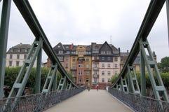 Across the bridge.Frankfurt am Main. Germany. Royalty Free Stock Photo