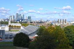 Across Greenwich  Park to Canary Wharf, London Equestrian Olympics. An unusual view looking across Greenwich Park to the tall modern buildings at Canary Wharf Royalty Free Stock Image