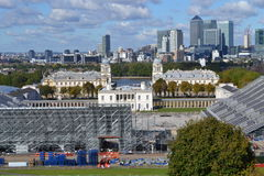 Across Greenwich  Park to Canary Wharf, London Equestrian Olympics Stock Photo