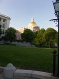 Across the lawn of the massachusetts state house. Portrait view of the massachusetts state house from across the lawn, daytime Stock Photo