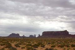 Across the monument Valley in a gray day Royalty Free Stock Photo