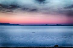 Across Salt Water HDR ORG. Sunset on the Bonneville Salt Flats in Utah Stock Photos