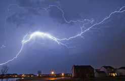 Across the Sky. Lightning from a spring thunderstorm Royalty Free Stock Images