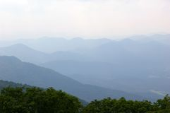 Across The Smokey Mountains. Photographed From The Lookout Tower at Chattahoochie National Forrest Near Hiawassee, Georgia Royalty Free Stock Photo