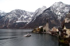 Across to romantic city, Hallstatt Royalty Free Stock Images