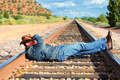 Across train tracks Stock Photography