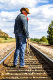 Across train tracks Royalty Free Stock Images
