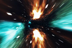 Across the universe. Traveling in space. Time travel. Scene of overcoming the temporary space in cosmos. 3d rendering. Across the universe. Traveling in space Royalty Free Stock Photo
