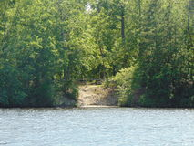 Across the water. Opening path in the line of trees on the shoreline across the water stock image