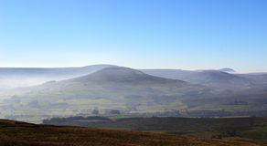 Across Wensleydale to Dodd Fell and Ingleborough. Stock Photo