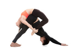 Acroyoga, downward-facing dog and bow pose Royalty Free Stock Photo