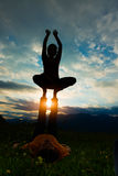 Acroyoga girl of male in romantic atmosphere Stock Photography
