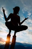 Acroyoga girl of male in romantic atmosphere Royalty Free Stock Image