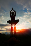 Acroyoga girl of male in romantic atmosphere Stock Image