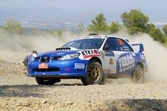 Acrópolis de la reunión de 2011 WRC - Subaru Imágenes de archivo libres de regalías