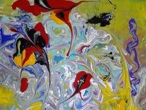 Acryl farbige abstrakte Malerei Stockbilder