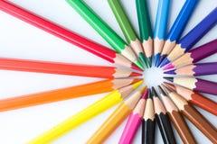 Acryl farbige Bleistifte in Form eines Kreises Lizenzfreies Stockbild