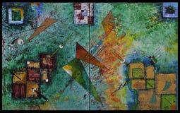 Acryl het schilderen geometrische vormen Royalty-vrije Stock Afbeelding
