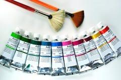 Acryl het schilderen hulpmiddelen stock foto's
