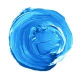 Acryldiecirkel op witte achtergrond wordt geïsoleerd Heldere blauwe ronde waterverfvorm voor tekst Element voor verschillend ontw Royalty-vrije Stock Afbeelding