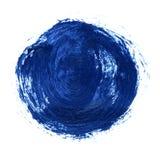 Acryldiecirkel op witte achtergrond wordt geïsoleerd Heldere blauwe ronde waterverfvorm voor tekst Element voor verschillend ontw Stock Foto's