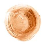 Acryldiecirkel op witte achtergrond wordt geïsoleerd Oranje, bruine ronde waterverfvorm voor tekst Element voor verschillend ontw Stock Foto's