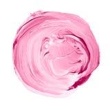 Acryldiecirkel op witte achtergrond wordt geïsoleerd Roze, lichtpaarse ronde waterverfvorm voor tekst Element voor verschillend o Royalty-vrije Stock Foto's