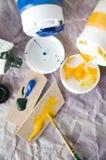 Acrylfarbe auf Stücken von hölzernem Lizenzfreies Stockbild