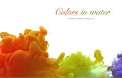 Acrylfarben und Tinte im Wasser Entziehen Sie Feldhintergrund Stockbilder