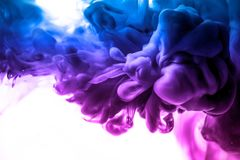 Acrylfarben und Tinte im Wasser Entziehen Sie Feldhintergrund Auf Weiß Lizenzfreie Stockfotografie