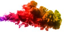 Acrylfarben und Tinte im Wasser Entziehen Sie Feldhintergrund Auf Weiß Lizenzfreie Stockfotos