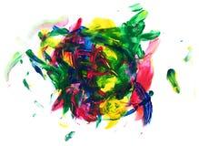Acrylfarbenhintergrund im roten grün-blauen und gelben Farbesprit Stockfotografie