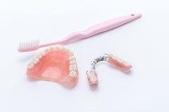 Acrylgebisse mit Zahnbürste auf weißem Hintergrund Lizenzfreie Stockfotos