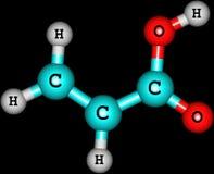 Acrylic acid molecule isolated on black Royalty Free Stock Photography