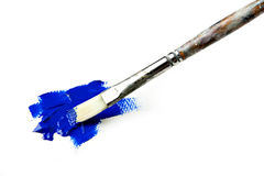 Acrylic Blue Paint with Flat Brush Royalty Free Stock Images