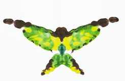 Acrylic butterfly. Abstract shape similar to a butterfly made from symmetrical blending of acrylic painting colors, isolate on white Stock Photography