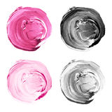 Acrylic circles collection pink, gray colors. Watercolor stains set isolated on white background. Design elements stock illustration