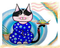 Acrylic color paintings illustration lovely cartoon of cat smile Royalty Free Stock Photos