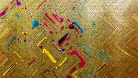 Ink spill on wood board. Bright strokes. Ink spill artwork. Dry inking surface. stock photos