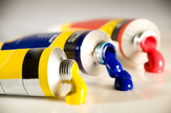 Acrylic color tubes Royalty Free Stock Photos